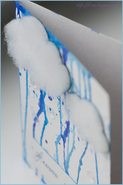 открытка с дождем и тучами, открытка потеки, скрап тучи, скрап дождь, скрап акварель, открытка своими руками, тучи из синтепона, Життя яскраве