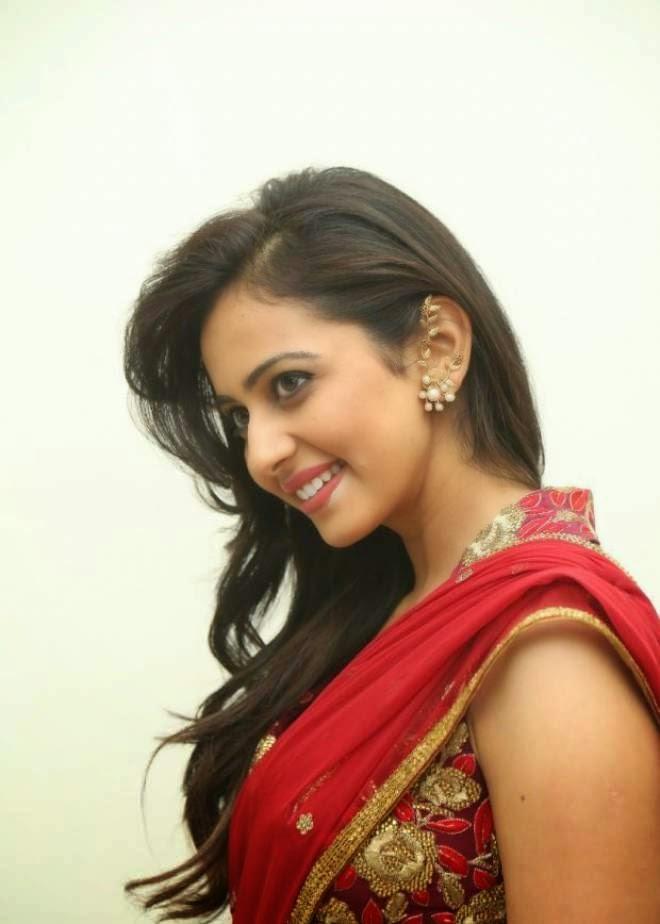 Rakul Preet Singh Hot Photos In Red Saree