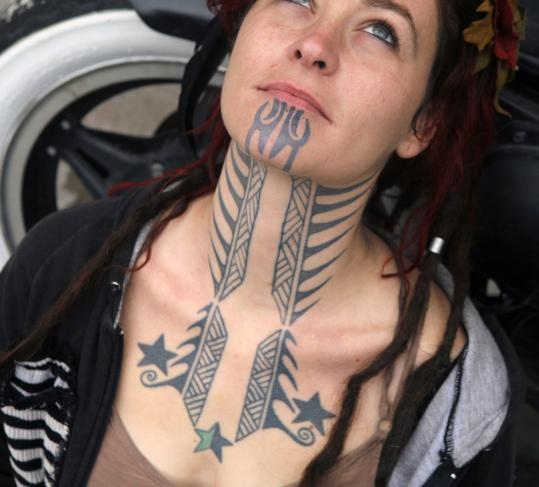 Chin Neck Tattoos For Women
