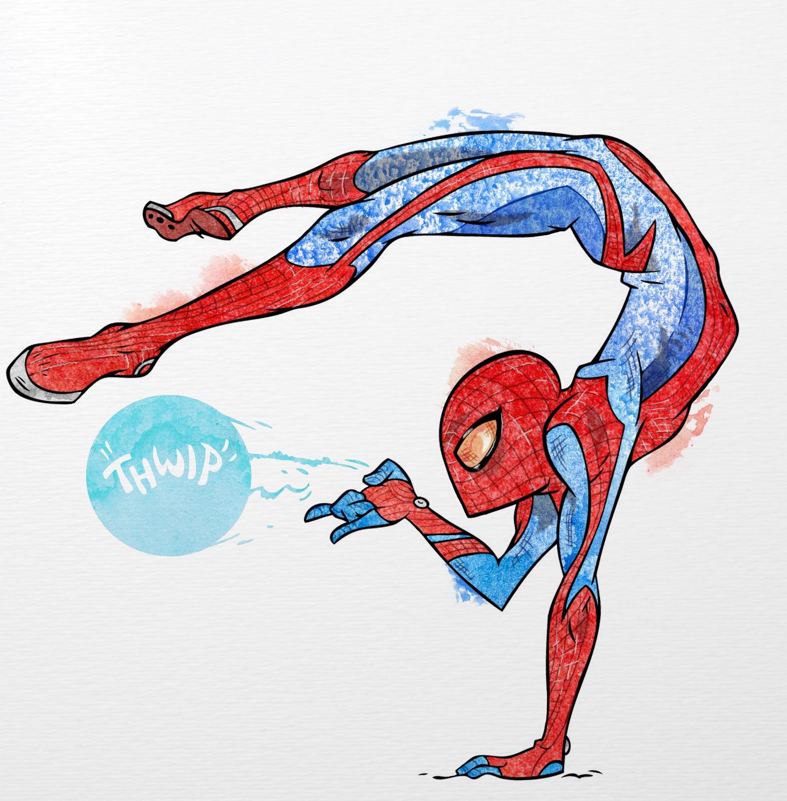 Рисовать красками человека паука