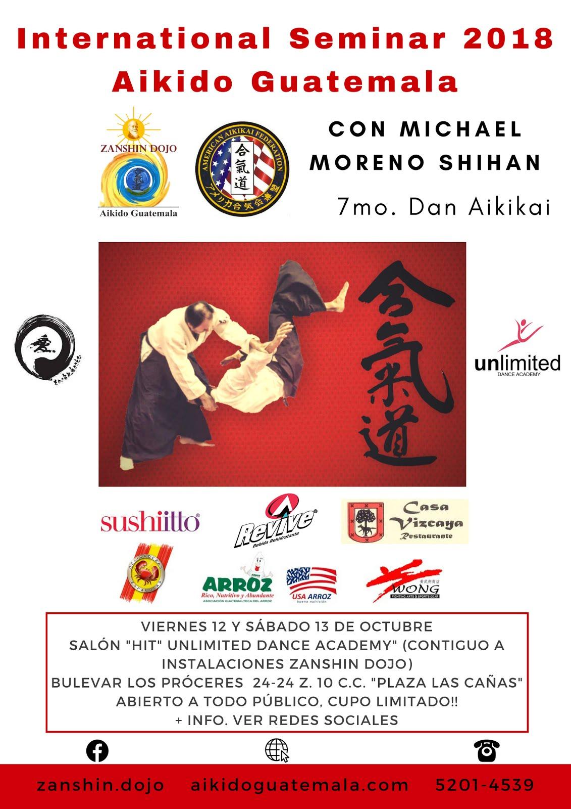 Afiche 16vo. Seminario Zanshin Dojo Aikido Guatemala