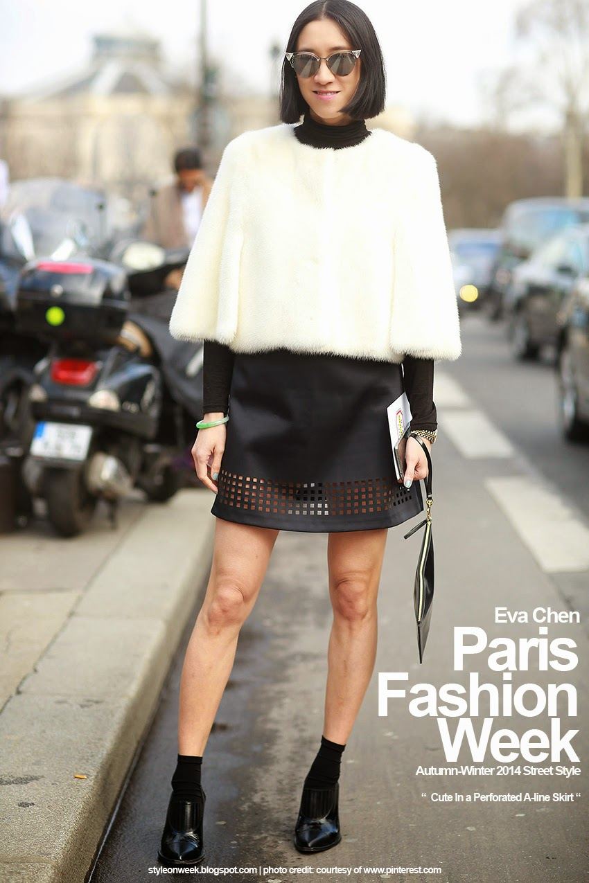 Paris Fashion Week Autumn-Winter 2014 Street Style - Cute In a Perforated A-line Skirt