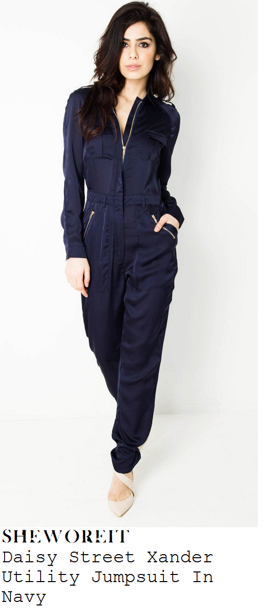 lauren-pope-navy-blue-long-sleeve-zip-front-utility-jumpsuit-style-diary