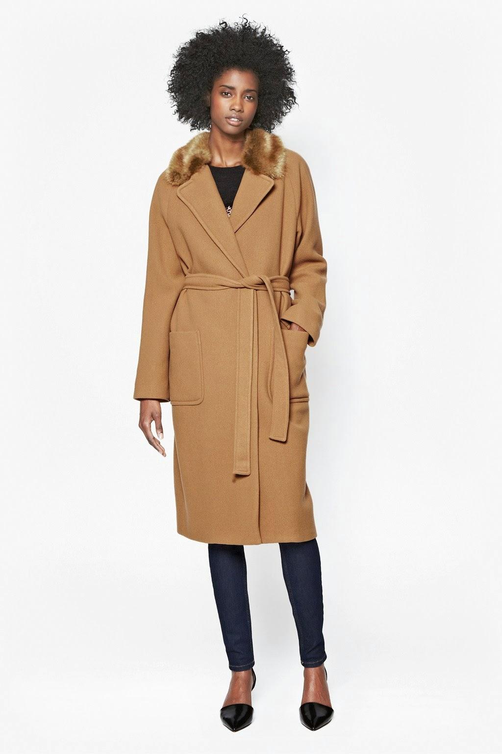 camel tie waist coat