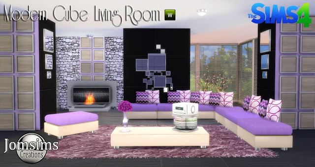 My sims 4 blog modern cube living room set by jomsims for Salon moderne sims 4