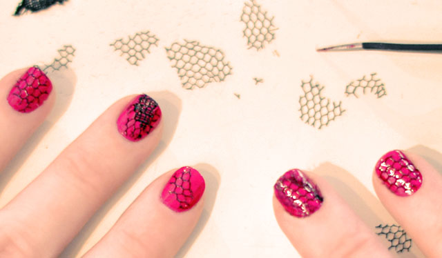 mesh and lace and pink and gold nails