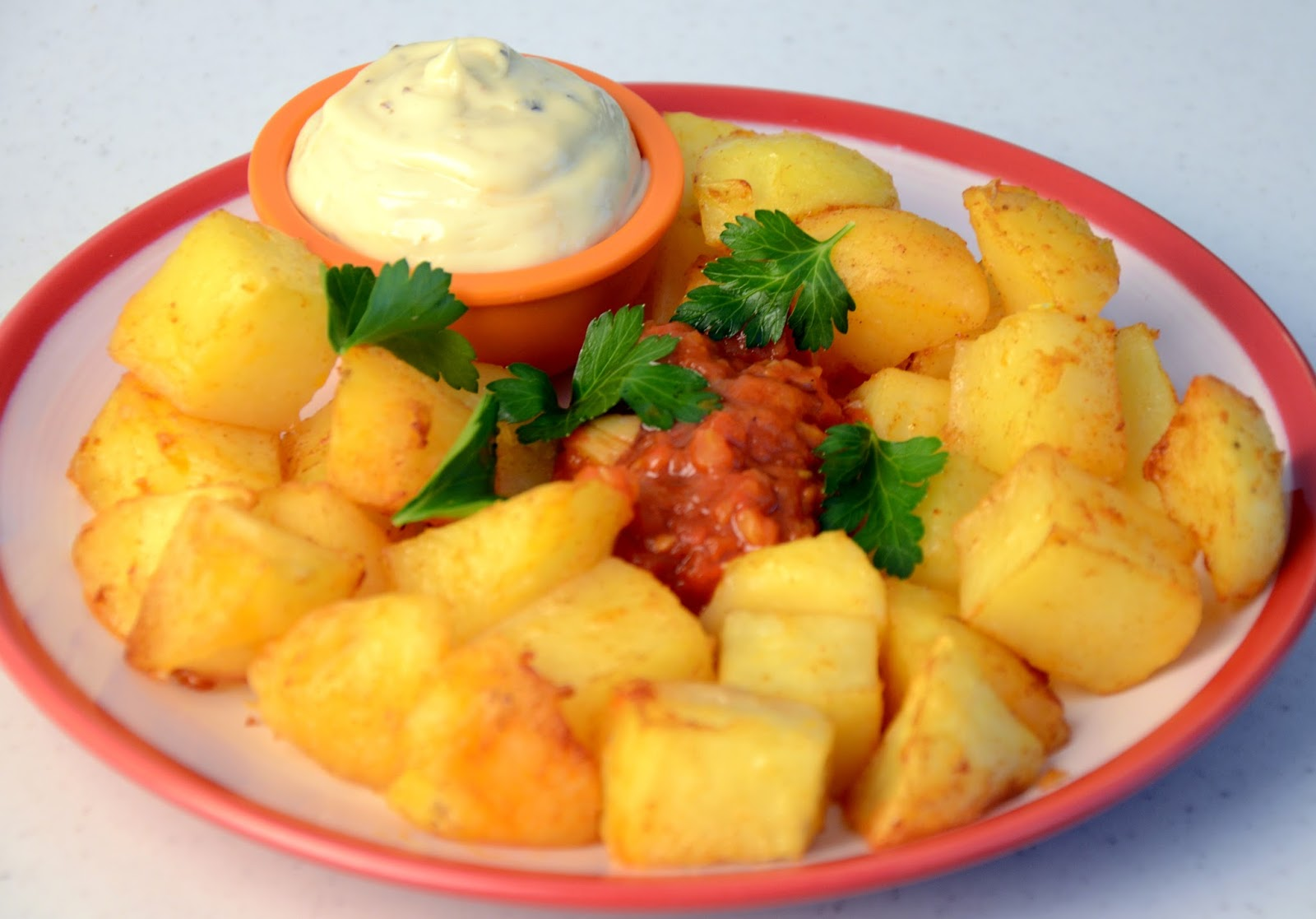 Fried Potatoes With Spicy Salsa And Mayo ~ Batatas Bravas