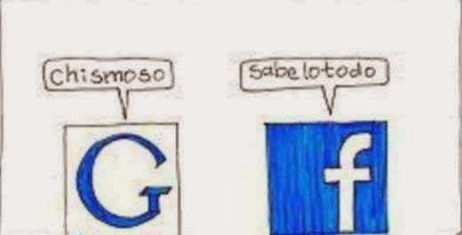 Imagen de humor de pelea entre Facebook y Google