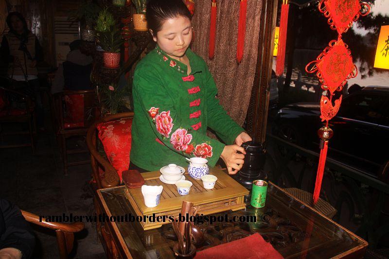Tea lady at Tang Ren Tea House, Qianhai, Beijing, China