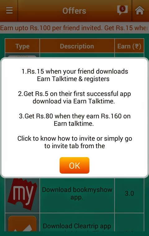 Earn Talktime App Free Recharge Offer - Refer and get upto Rs 100 Per Referral (April 2015)
