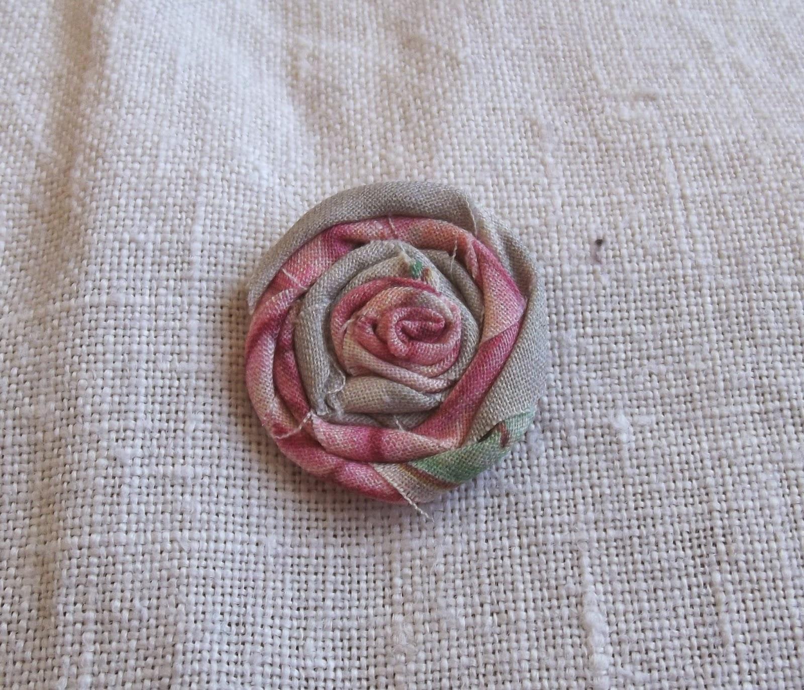 rag rolled rose stud earring tutorial step 6