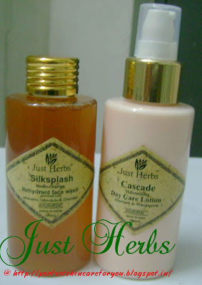 Just Herbs face wash and day moisturiser at Perfect Skin Care for you