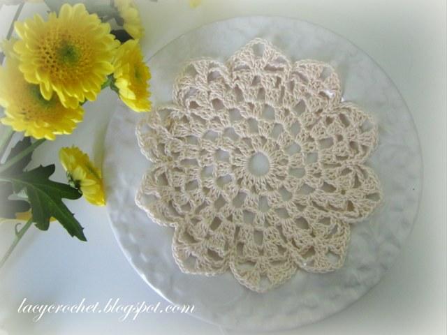 Crochet Flower Doily Patterns : Lacy Crochet: Small Flower Doily (my first written doily ...