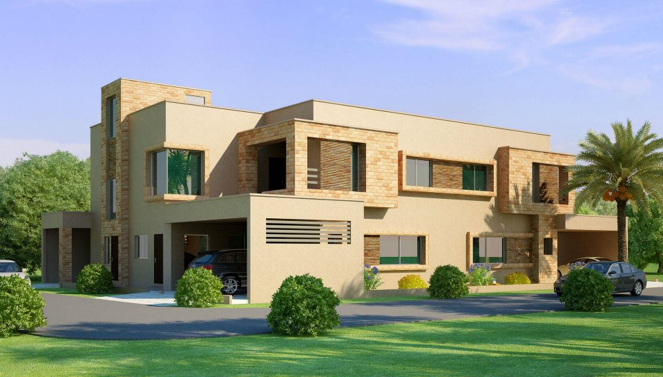 3d front beautiful home house in pakistan for New homes design pakistan
