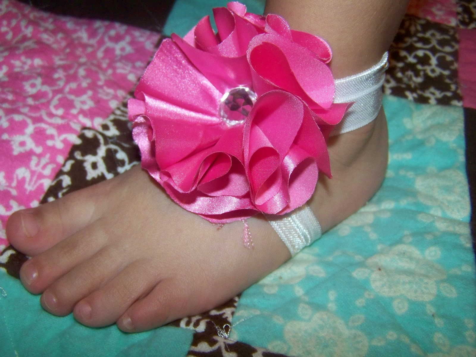 Simple-Sew Barefoot Sandals and Flower Tutorial