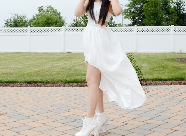 More photos of WalkTrendy's romantic white cutout high-low asymmetric-hem dress.