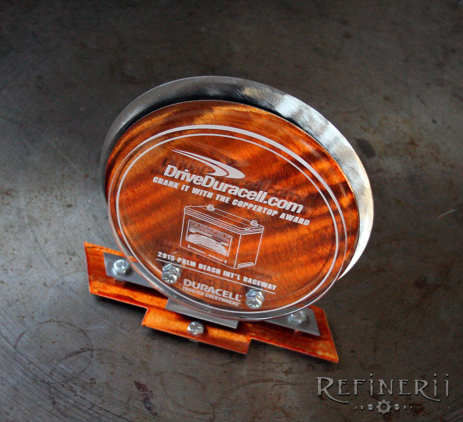 mixed metals trophy made for driveduracell.com by refinerii.net