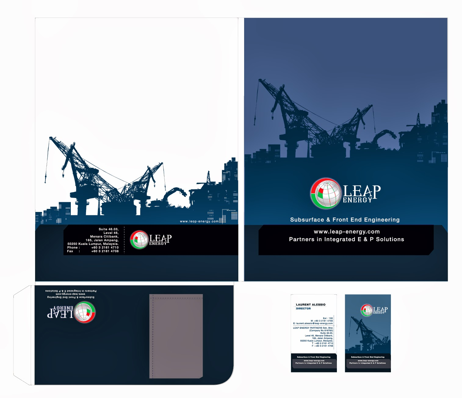 K s design Leap Energy business card & file folder