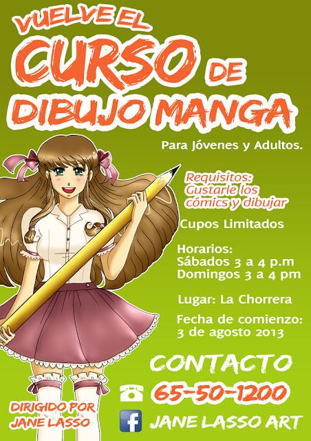 Afiche curso taller de dibujo manga