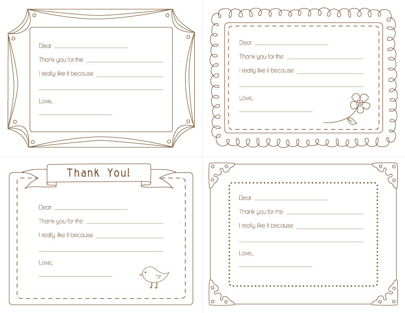 kids printable thank you notes