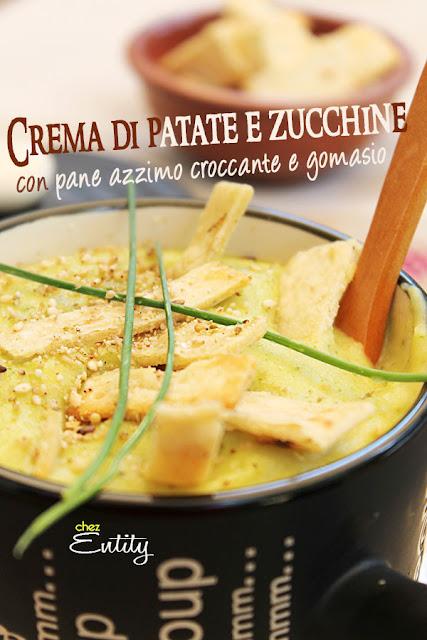 crema di patate e zucchine con pane azzimo croccante e gomasio