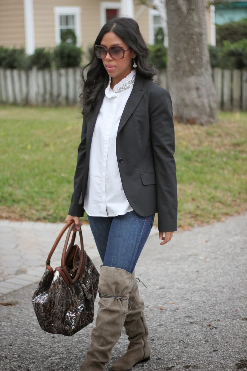 over the knee suede boots j crew tilda top theory blazer chanel jimmy choo bag sunglasses