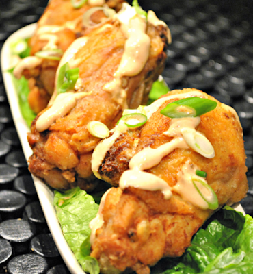 Stuffed Chicken Wings with Chipotle-Lime Dipping Sauce