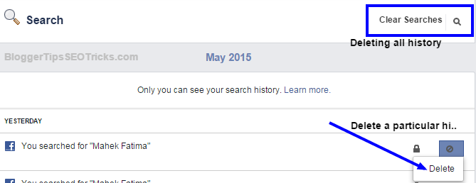 Hide/Delete your Facebook Search History on Desktop & Android Mobile