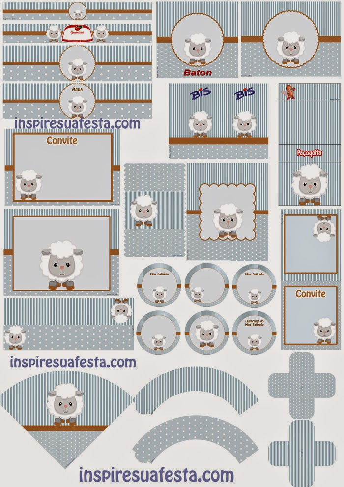 Baby Lambs in Light Blue Free Printable Kit.