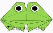 Bước 11: Vẽ mắt để hoàn thành cách xếp con ếch kêu bằng giấy đơn giản.