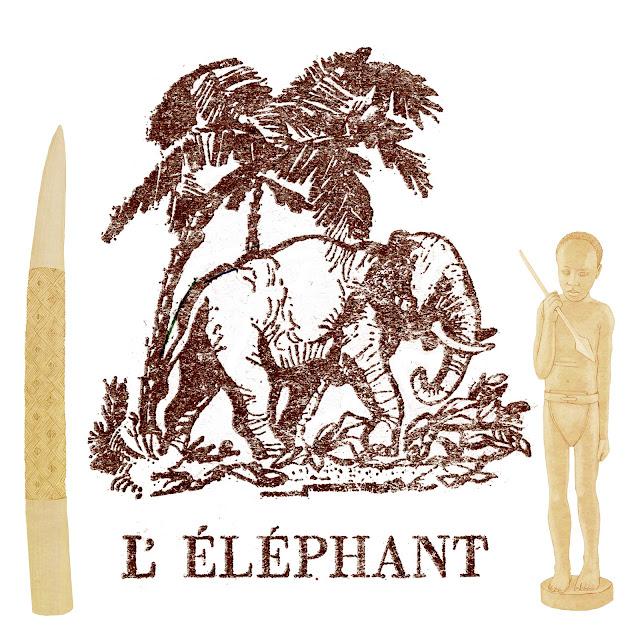 Antropologia, Africa, el elefante, figuras de marfil. colmillo, pigmeo, dibujo