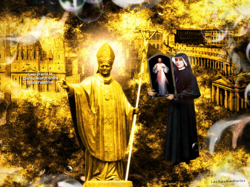 juan pablo segundo y santa faustina cargando el cuadro de jesus misericordioso
