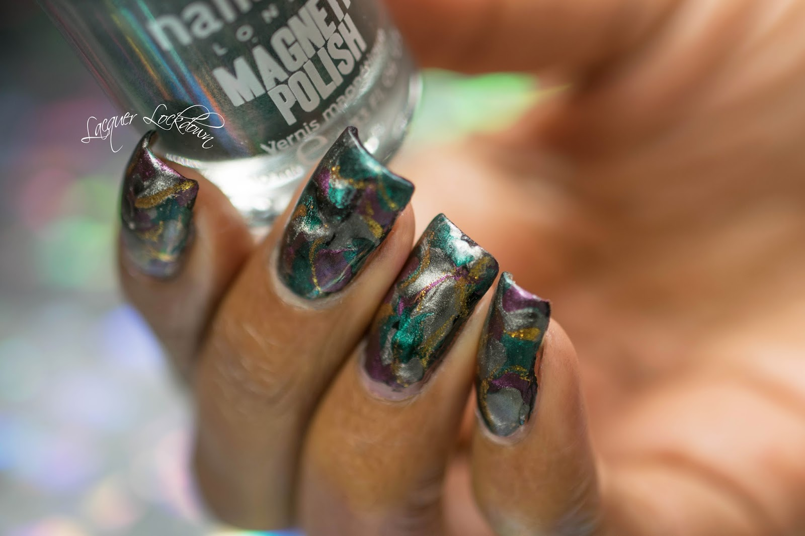 Lacquer Lockdown: Magnetic Jeweled Stonework Nail Art + Tutorial