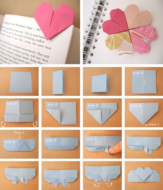 ZONA DE MANUALIDADES: Origami: Corazón marcador de página