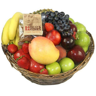 Cookies in a bag with fruit basket