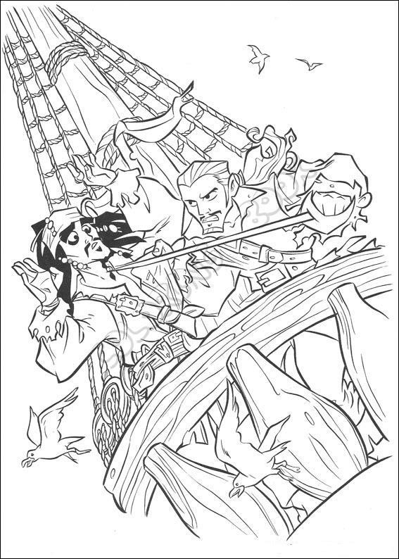 Coloring Pages Disney Pirates Caribbean : Pirates of the caribbean coloring pages