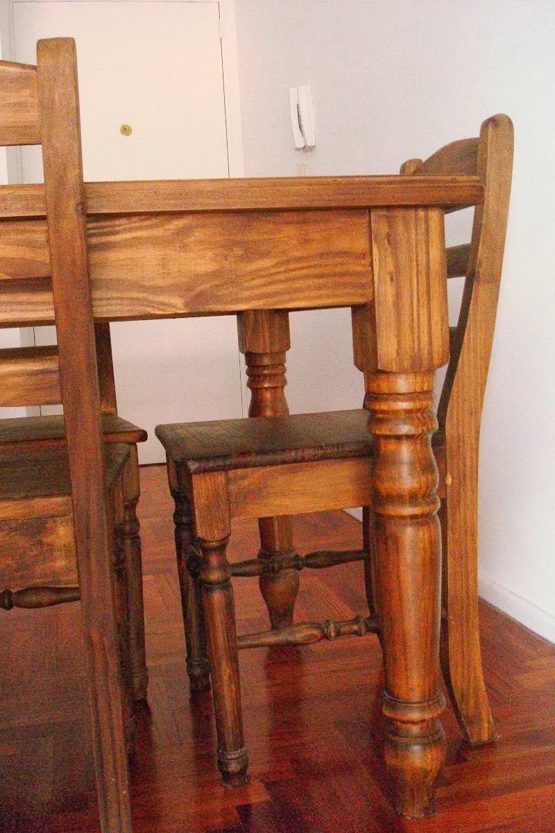 Mesa de madera de pino con 6 sillas 2500 ars for Mesa 3 en 1 con 2 sillas