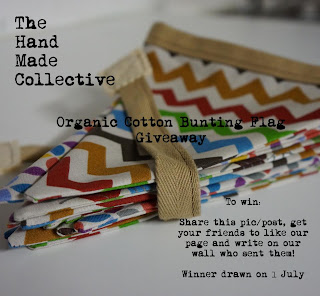 bunting, handmade, sewing, hand sewn, bunting giveaway, organic, organic cotton, the handmade collective