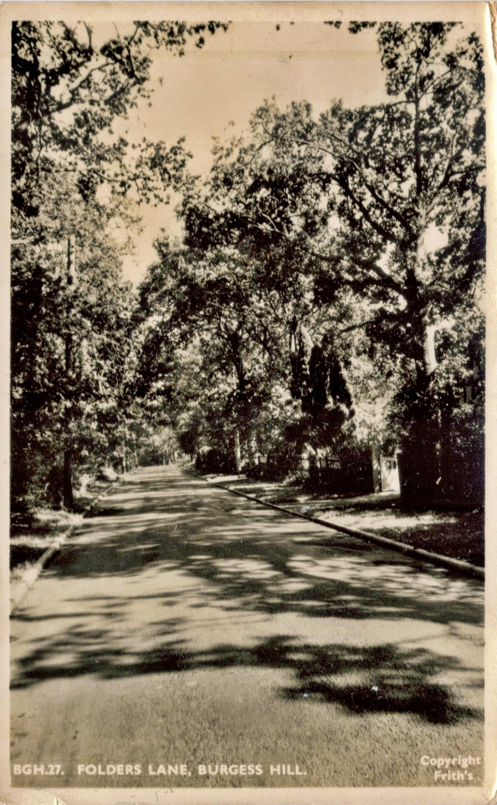 1950s photo of Folders Lane, Burgess Hill, Sussex