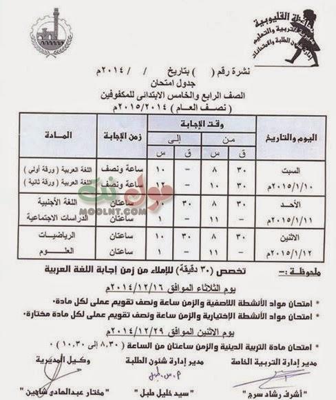 جداول امتحانات المرحلة الابتدائية كاملة للمكفوفين الفصل الاول 2015 القليوبية