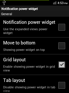 Notification Power Widget Settings