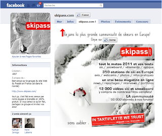 Page Facebook skipass avant la Timeline (landing page)