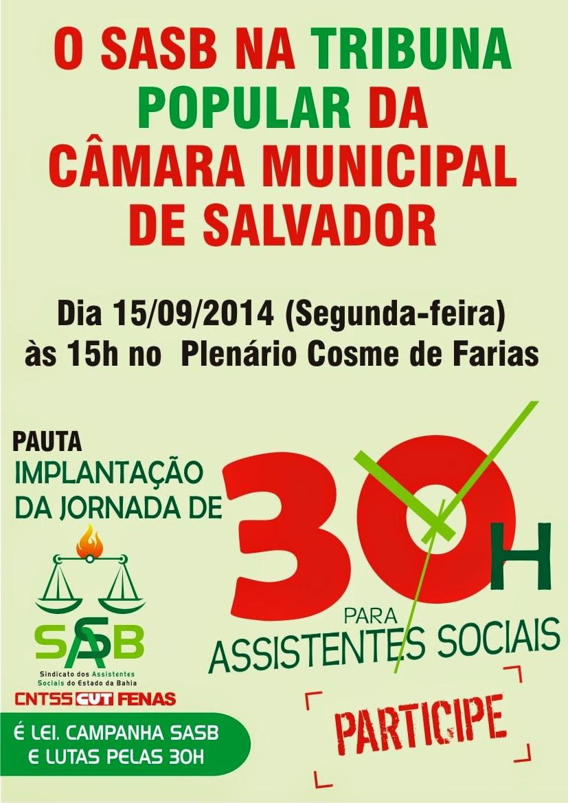 O SASB na tribuna popular da câmara municipal de salvador dia 15 de setembro às 15h
