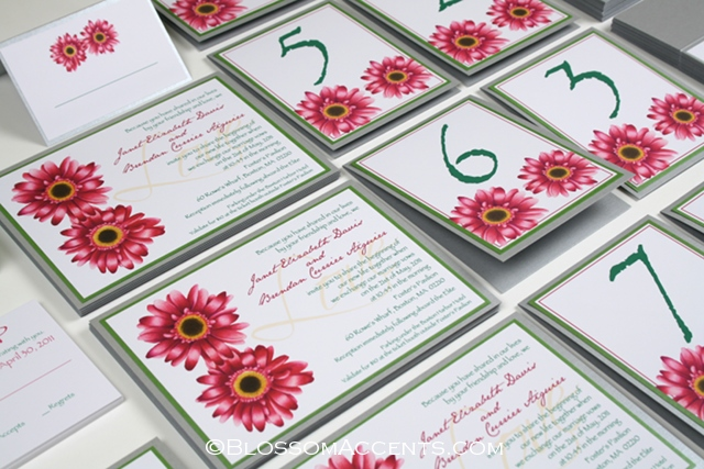 baby pink gerber daisy wedding invitations