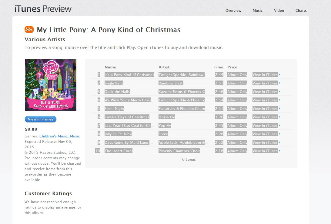 Horse News: My Little Pony Christmas Carol Album to be Released.