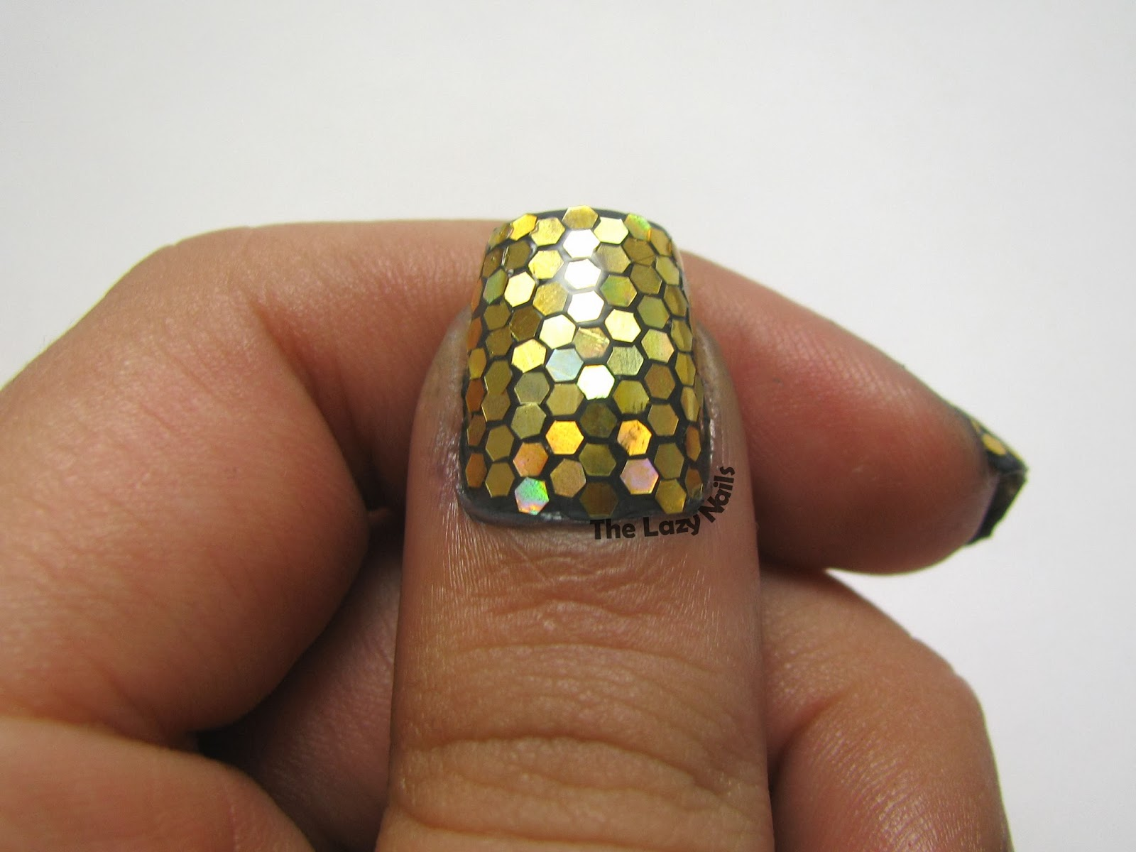 Full glitter placing manicure | The Lazy Nails