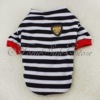 Puppy Dog Pet Cotton Clothes Stripe Polo T Shirt Apperal Costume S/M/L/XL/XXL