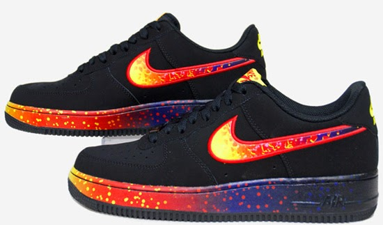 This Nike Air Force 1 Low comes in a black and fire colorway. Known as the