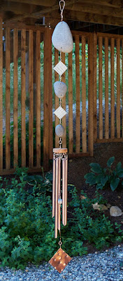 Large natural beach stone wind chime with five copper chimes, Coast Chimes