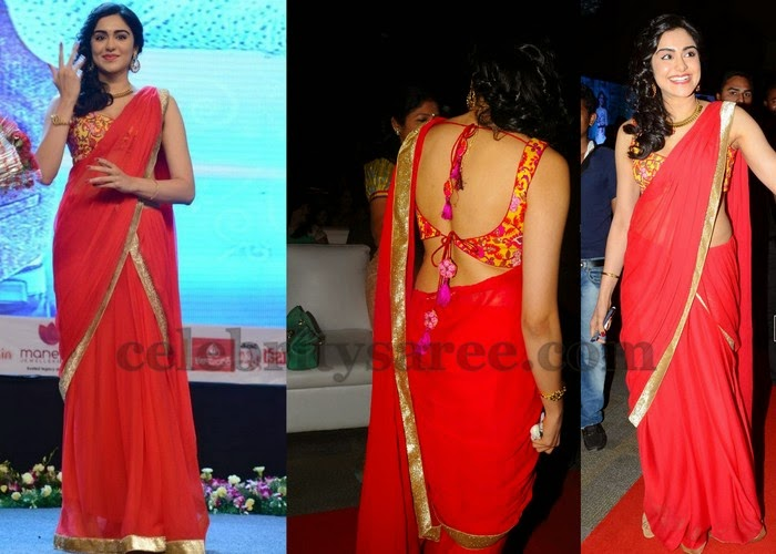 Adah Sharma Red Designer Saree